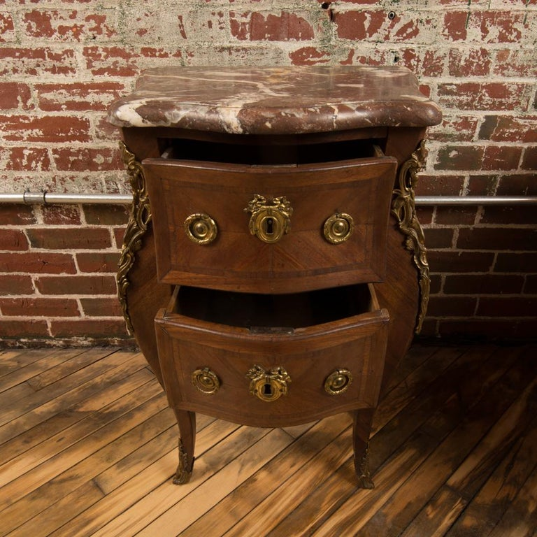 Mahogany French Louis XV Style Marquetry Night Stand Side Cabinet, circa 1940 For Sale