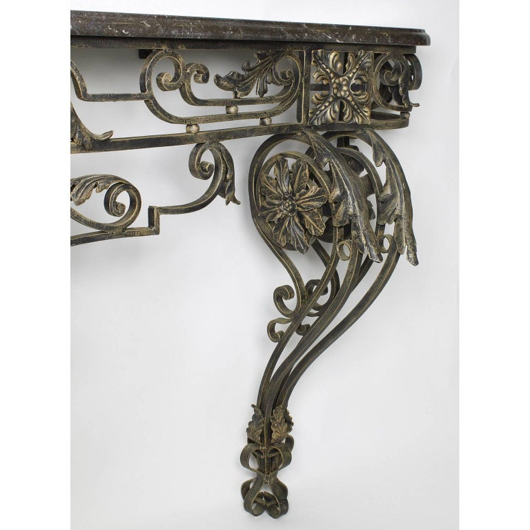 20th Century French Louis XV Style Wrought Iron Wall Console with Marble Top For Sale