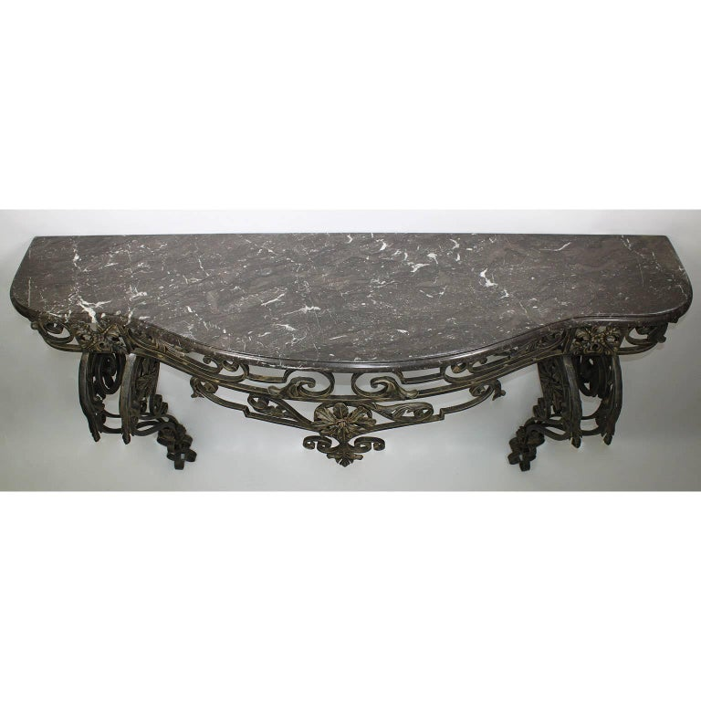 French Louis XV Style Wrought Iron Wall Console with Marble Top For Sale 1