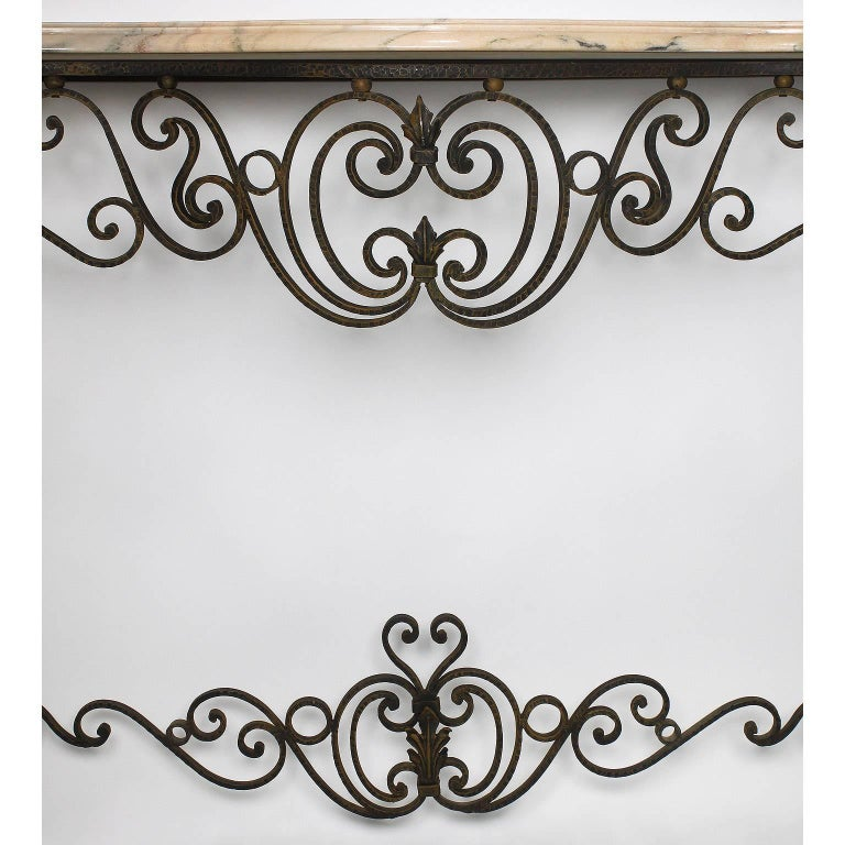 20th Century French Louis XV Style Wrought Iron Wall-Mounting Console with Marble Top For Sale