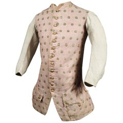A French Louis XV Summer Jacket in Striped and Brocaded Cotton France Circa 1750