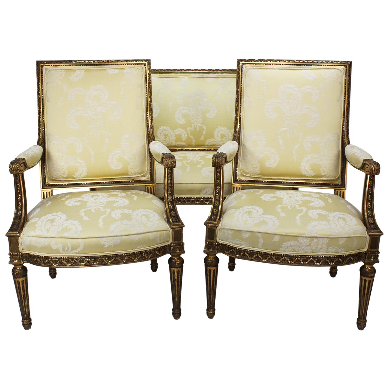 French Louis XVI Style Giltwood Carved Three-Piece Salon or Parlor Suite