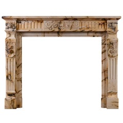 French Louis XVI Style Pavonazzo Marble Antique Fireplace