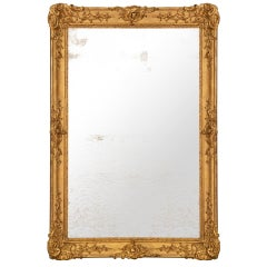 French Mid-19th Century Louis XV St. Rectangular Giltwood Mirror