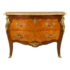 French Mid-19th Century Louis XV Style Tulipwood and Kingwood Chest