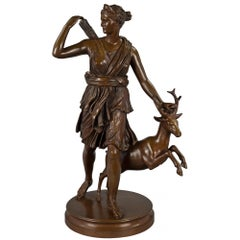 French Mid-19th Century Louis XVI Style Bronze Statue of Diana the Huntress