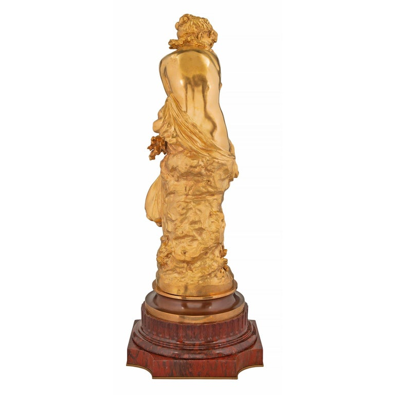 French Mid-19th Century Louis XVI Style Ormolu Statue, Signed Mathieu Moreau For Sale 9