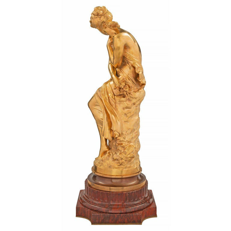 French Mid-19th Century Louis XVI Style Ormolu Statue, Signed Mathieu Moreau For Sale 1