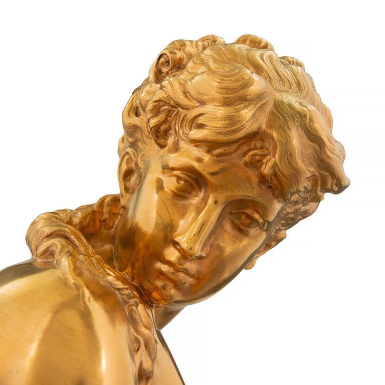 French Mid-19th Century Louis XVI Style Ormolu Statue, Signed Mathieu Moreau For Sale 2