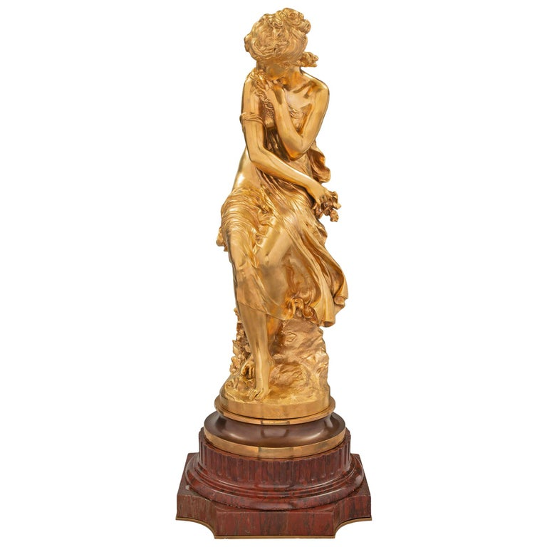 French Mid-19th Century Louis XVI Style Ormolu Statue, Signed Mathieu Moreau For Sale