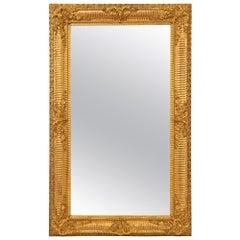 French Mid-19th Century Louis XVI Style Rectangular Giltwood Mirror