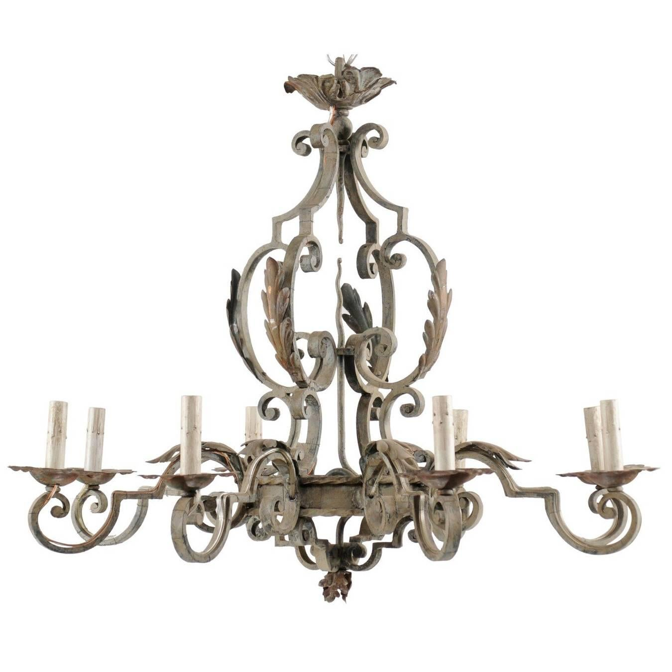 French Painted Iron Chandelier with Scroll and Acanthus Leaf Motifs