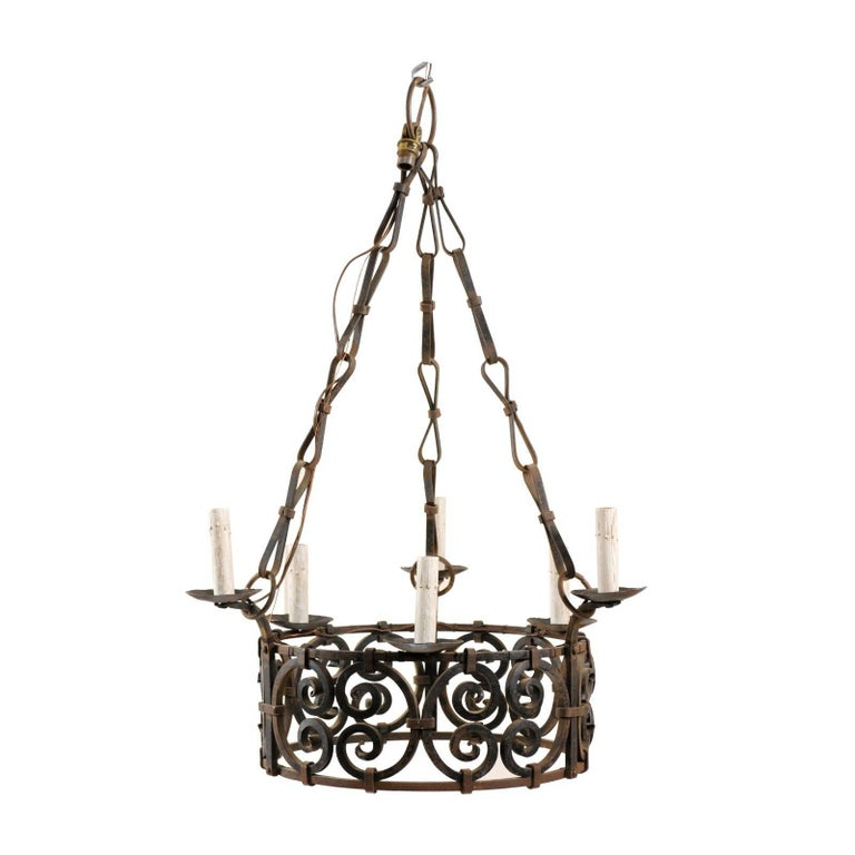 French Mid-20th Century Six-Light Scrolling Iron Ring Chandelier