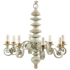 French Mid-20th Century Turned Wood and Scrolled Iron Chandelier in Soft Green