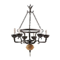 French Midcentury Forged Iron Chandelier with a Carved Wood Sphere Accent