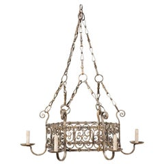 French Midcentury Six-Light Iron Chandelier with Lovely Scrolling Pattern