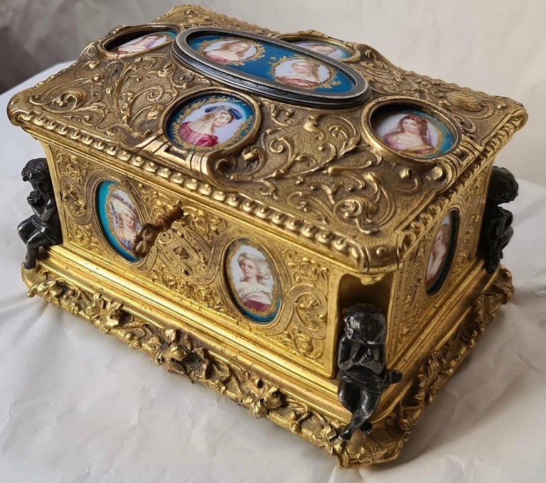 A French Napoléon III ormolu and Sèvres porcelain jewelry casket
