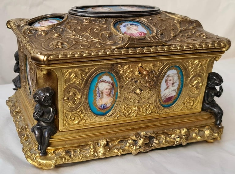 Late 19th Century French Napoléon III Ormolu and Sèvres Porcelain Jewelry Casket For Sale