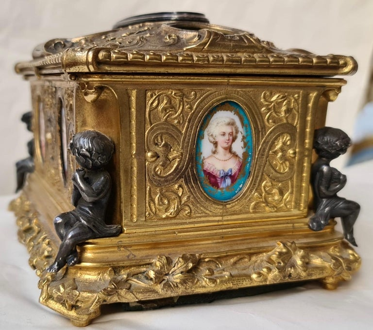 Bronze French Napoléon III Ormolu and Sèvres Porcelain Jewelry Casket For Sale