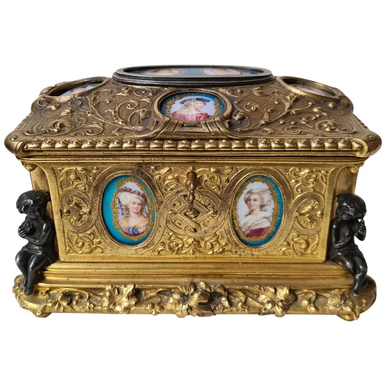 French Napoléon III Ormolu and Sèvres Porcelain Jewelry Casket For Sale