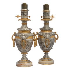 French Napoléon III Ormolu-Mounted Pair of Lamps, circa 1895
