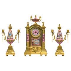 French Napoleon III Ormolu Pink Porcelain Clockset