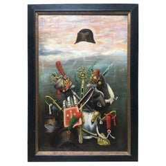 French Empire Napoleonic Military Oil on Canvas Painting, Framed