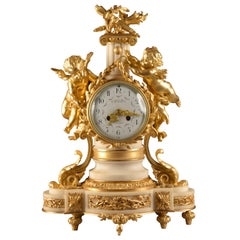 French Ormolu and White Marble Clock, Napoleon III