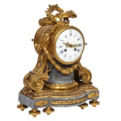 French Ormolu-Mounted Bleu Turquin Marble Clock, Japy Frères, circa 1880