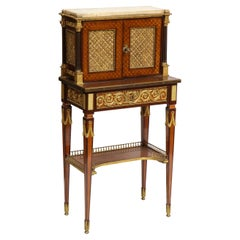 French Ormolu Mounted Mahogany Bonheur Du Jour, Attributed to Henry Dasson