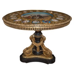 French Ormolu-Mounted Painted Wood and Sevres Porcelain Guéridon