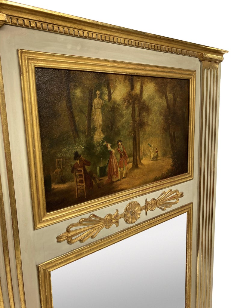 French Painted & Gilded Trumeau Mirror with Painted Panel In Good Condition In London, GB