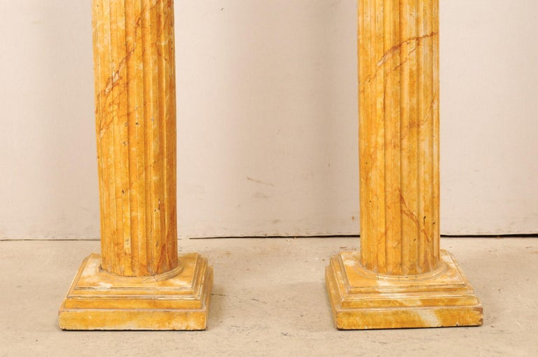 French Pair of Fluted Columns with Faux Marble Finish, Mid-20th Century For Sale 6