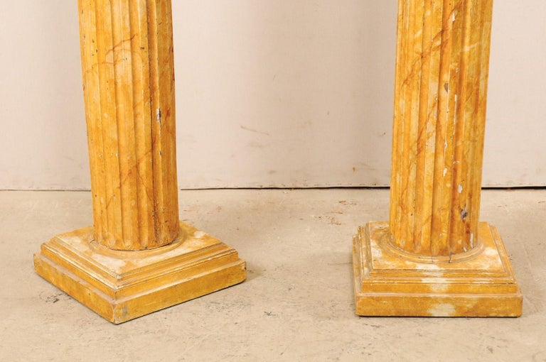 French Pair of Fluted Columns with Faux Marble Finish, Mid-20th Century For Sale 7