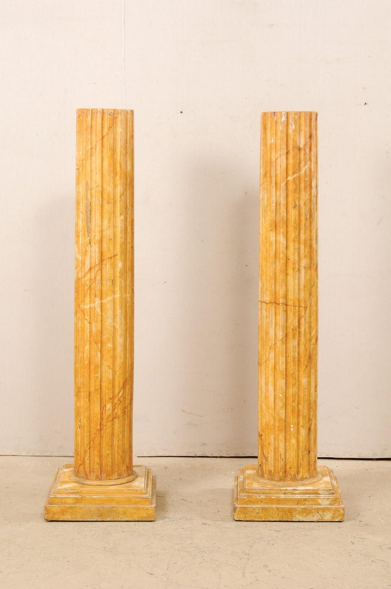 French Pair of Fluted Columns with Faux Marble Finish, Mid-20th Century In Good Condition For Sale In Atlanta, GA