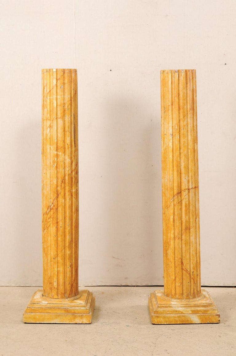 Wood French Pair of Fluted Columns with Faux Marble Finish, Mid-20th Century For Sale