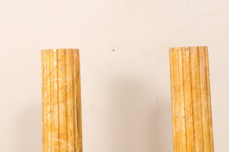 French Pair of Fluted Columns with Faux Marble Finish, Mid-20th Century For Sale 2