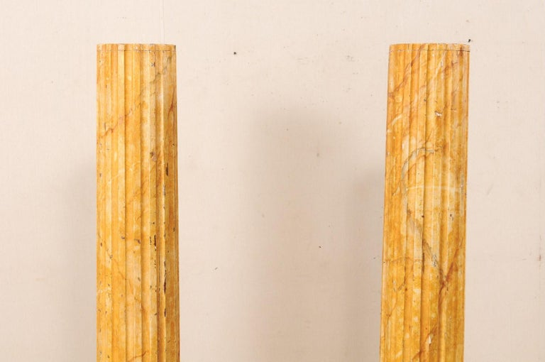 French Pair of Fluted Columns with Faux Marble Finish, Mid-20th Century For Sale 3