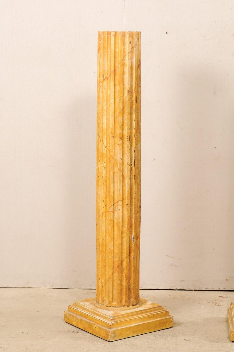 French Pair of Fluted Columns with Faux Marble Finish, Mid-20th Century For Sale 4