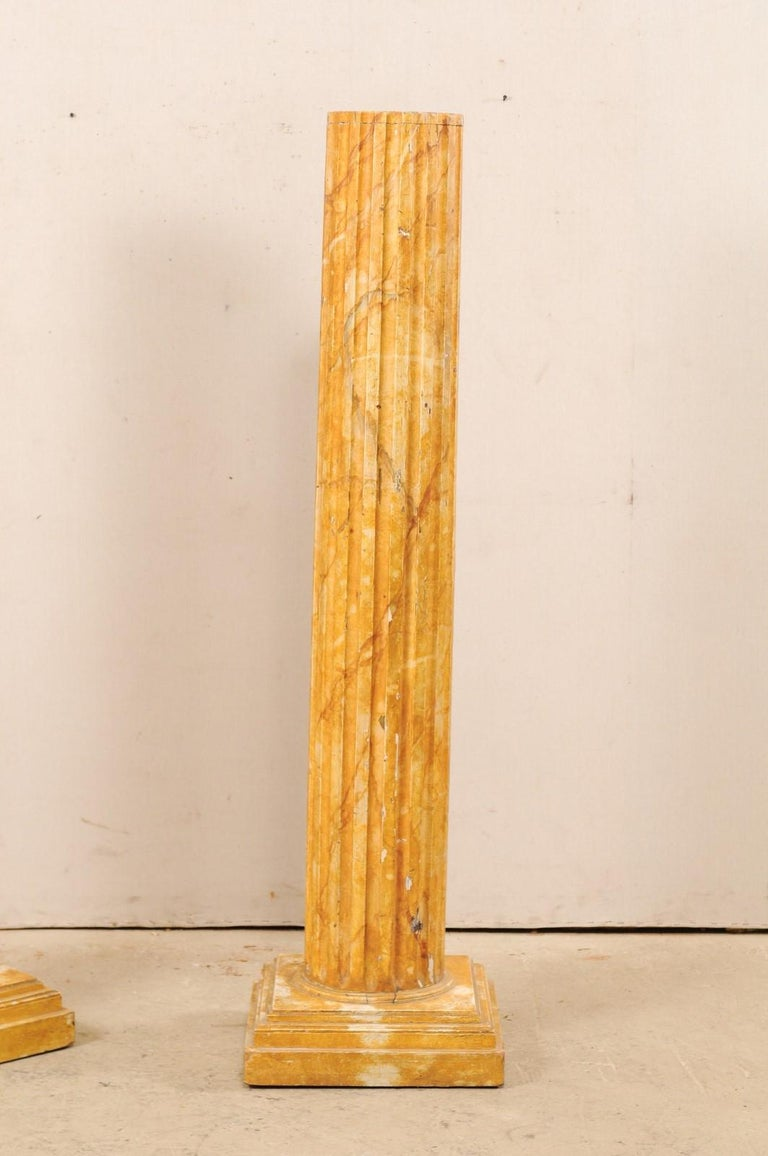 French Pair of Fluted Columns with Faux Marble Finish, Mid-20th Century For Sale 5