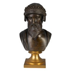 French Patinated Bronze Bust of a Bearded Monarch, circa 1875