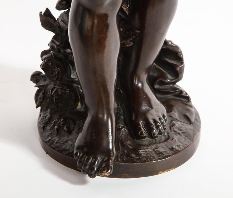 French Patinated Bronze Cherub Sculpture, Signed by Auguste Moreau For Sale 8