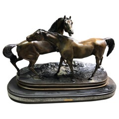 French Patinated Miniature Bronze Figure of Two Horses by P.J. Mene