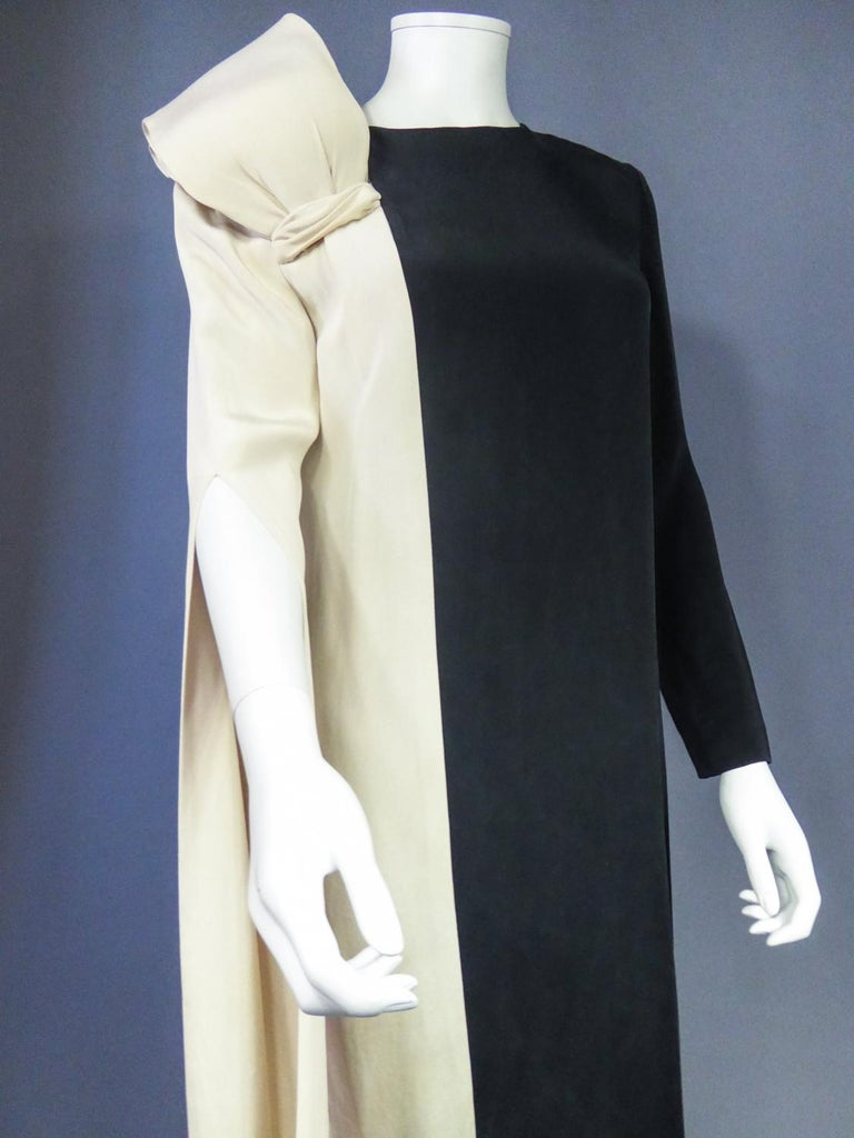 A French Pierre Cardin Couture Peplum Evening Dress in Silk Circa 1975/85 For Sale 5