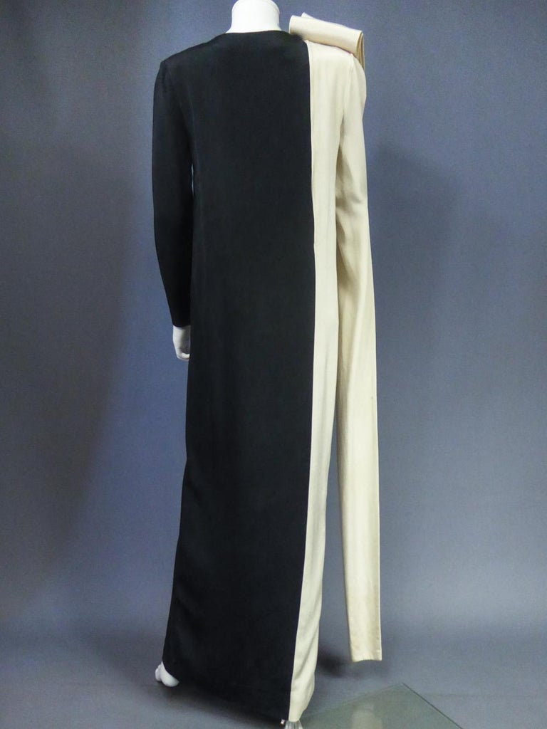 A French Pierre Cardin Couture Peplum Evening Dress in Silk Circa 1975/85 For Sale 6