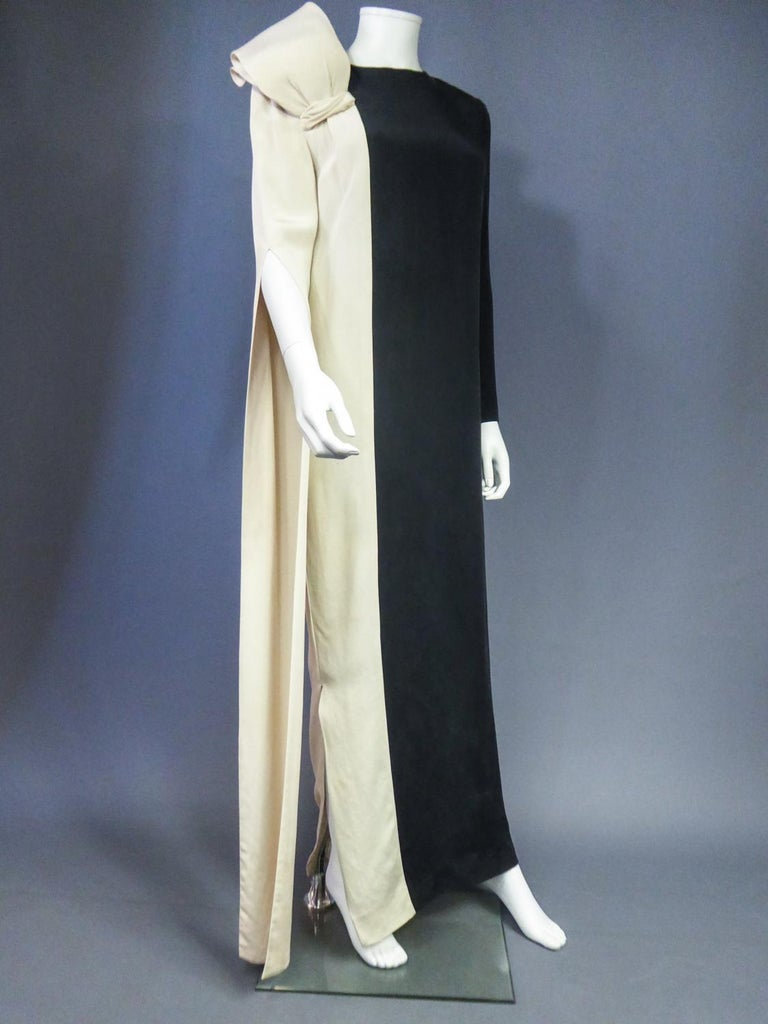 Black A French Pierre Cardin Couture Peplum Evening Dress in Silk Circa 1975/85 For Sale