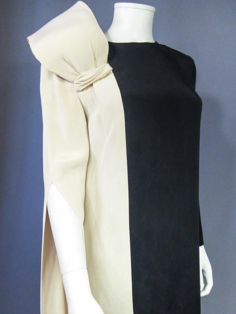 A French Pierre Cardin Couture Peplum Evening Dress in Silk Circa 1975/85 For Sale 2