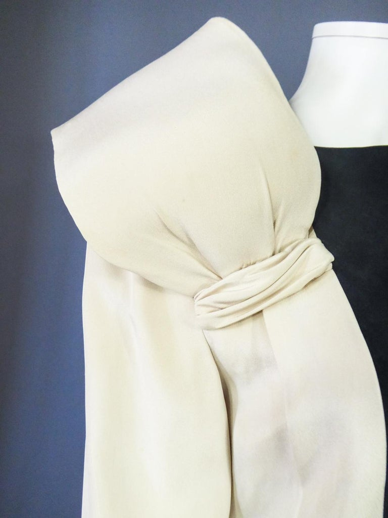 A French Pierre Cardin Couture Peplum Evening Dress in Silk Circa 1975/85 For Sale 3