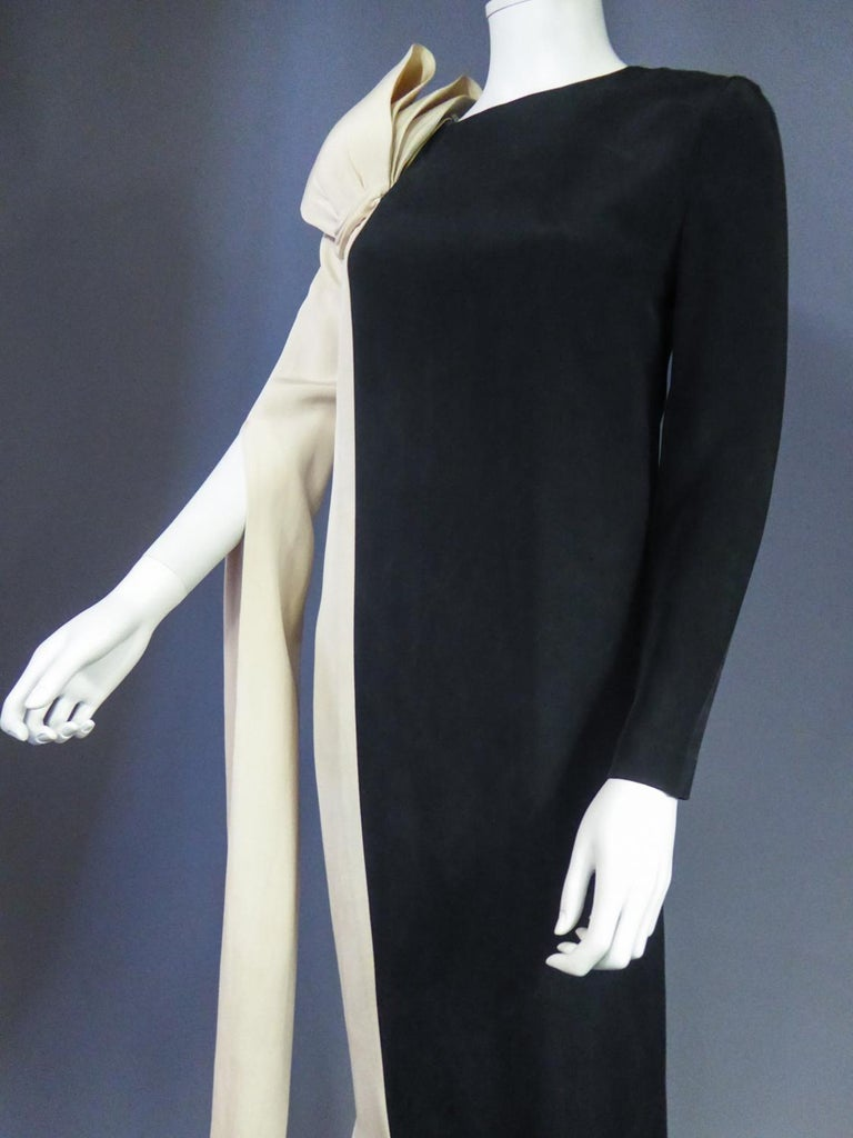 A French Pierre Cardin Couture Peplum Evening Dress in Silk Circa 1975/85 For Sale 4