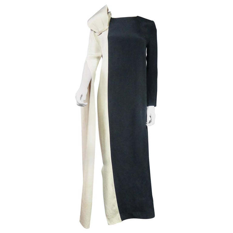 A French Pierre Cardin Couture Peplum Evening Dress in Silk Circa 1975/85 For Sale